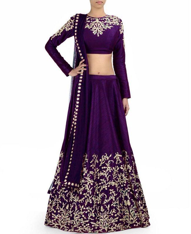 Purple Embroidered Lehenga Choli & Dupatta Set