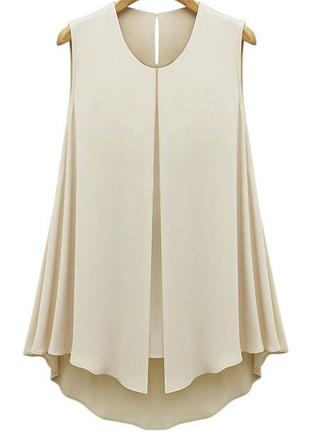 Apricot Sleeveless Double Layers Chiffon Blouse - Sheinside.com