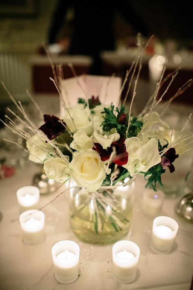 Ivory and burgundy wedding cylinder vases inspiration