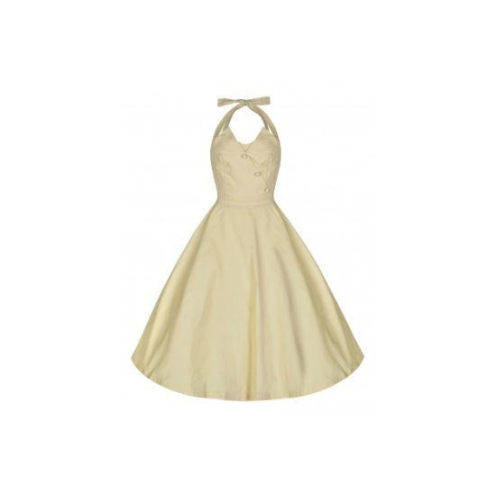 Lindy Bop Myrtle Pastel Yellow Retro šaty ve stylu 50. let. Nádherné šaty v krásné banánově (pastelově) žluté, vhodné jako druhé šaty pro nevěstu na převlečení nebo pro horké letní dny. Jsou se zavazováním za krk, krásně padnou, strečová bavlna, pro bohatší vzhled sukně doporučujeme doplnit spodničkou z naší nabídky.