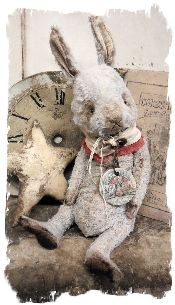 """Image of NEW DESIGN * Old Hare * 10"""" Vintage Style Frumpy Rabbit * By Whendi's Bears"""