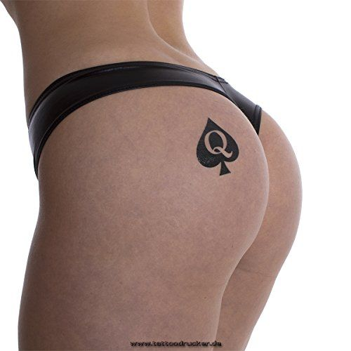 15 x Queen of Spades Tattoo in black - Hotwife Tattoo - BBC - temporary Tattoo:   15 single Queen of Spades logo tattoos for people who know the symbol of QoS. br Subject approx 4.2 x 4.7 cm.br Easy to use with water and baby oil to remove.br Includes rear German manual. br On the back there is a more practical form to the ideal placement. br The tattoos can last up to several days and are also water and soap proof. br The application is very easy.brbr Clean your skin.br 1 Remove the p...