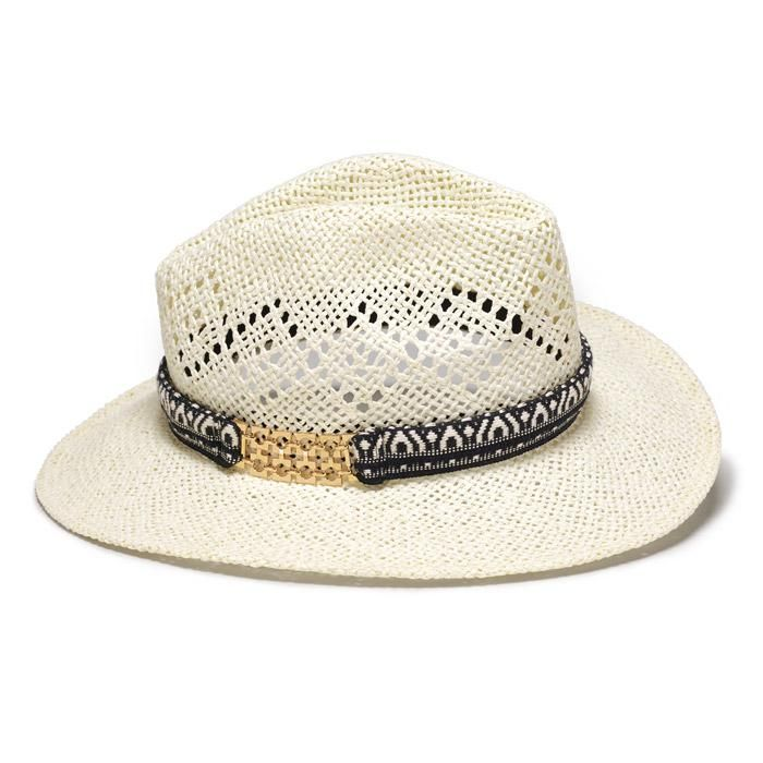 Faux straw with polyester hatband with black design and goldtone embellishment. $20 Buy Avon Online https://adavis0493.avonrepresentative.com/ #Avon #Hats