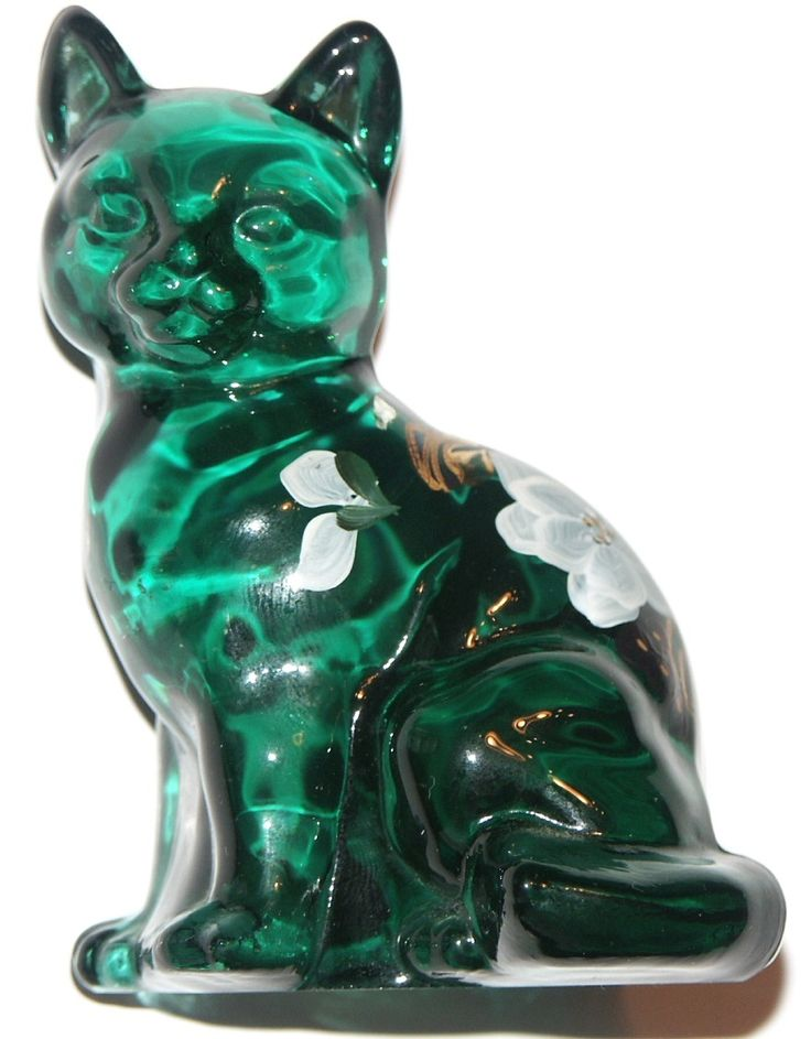 Hand Painted P Lane Collectible Green Fenton Glass Cat