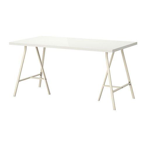 LINNMON / LERBERG Bord - högglans/vit - IKEA
