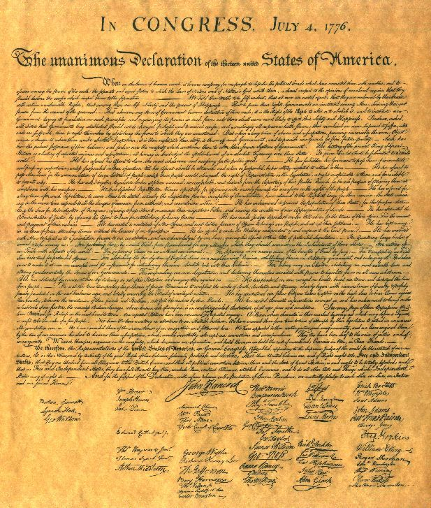 The Declaration of Independence was written by Thomas Jefferson and signed by the other delegates from around the 13 Colonies in 1776.  This document is a symbol of our freedom from England.