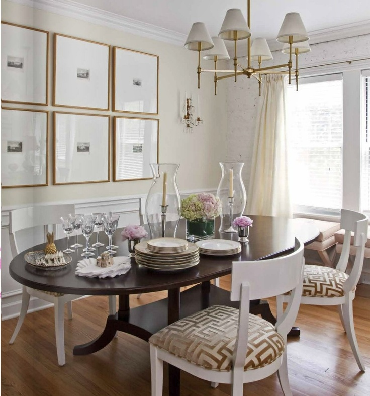 i love the white chairs with golden geometric upholstery against the dark wood table i - Dining Room Table With Bench Against Wall