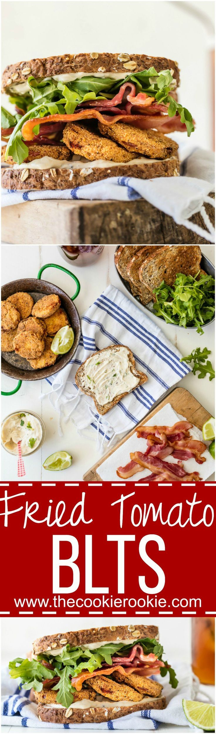 FRIED TOMATO BLTs with CILANTRO LIME MAYO is the best sandwich ever! Reimagine this classic recipe and make it a family favorite! Loaded with herbed fried tomatoes, cilantro lime mayo, arugula, and BACON! #BrightBites #ad