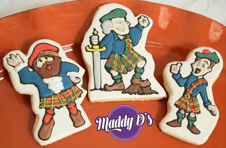 Scottish Groomsmen cookie Favors. Wedding, kilts, swords, Royal icing decorated sugar cookies by Maddy D's Sweets.