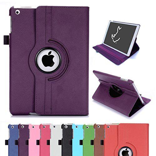 Ipad Air Case Rc Ipad Air 360 Rotating Smart Case Pu Leather Cover Stand For Apple Ipad 5 Air 1 Sleep/wake (purple)