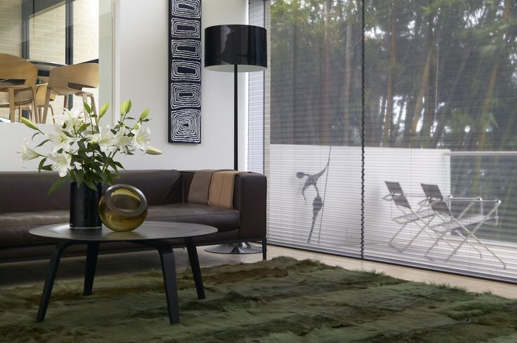 Verosol pleated blinds create cohesion between indoor and outdoor spaces.