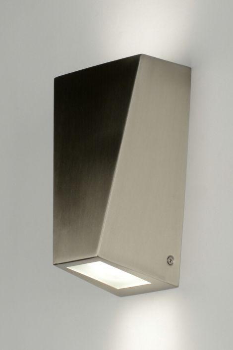 Wandlamp 88947 modern design glas wit opaalglas staal rvs rechthoekig
