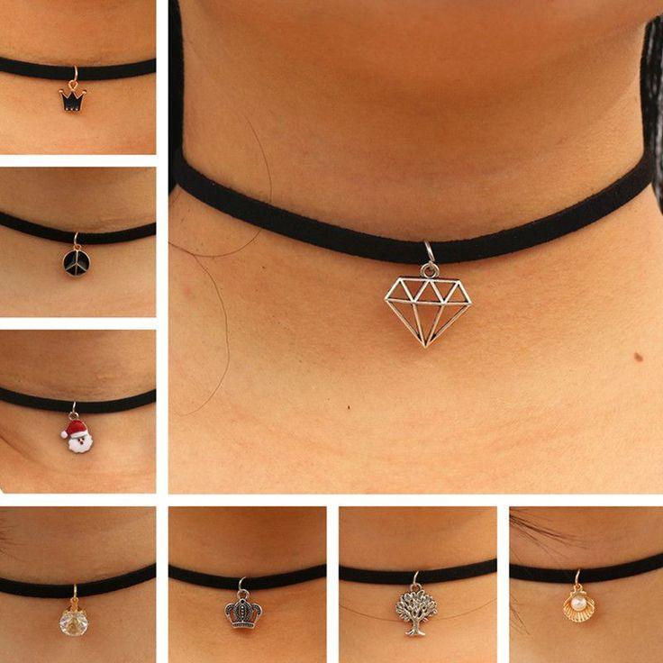 Choker Necklaces Women Black Velvet Suede Leather Chain