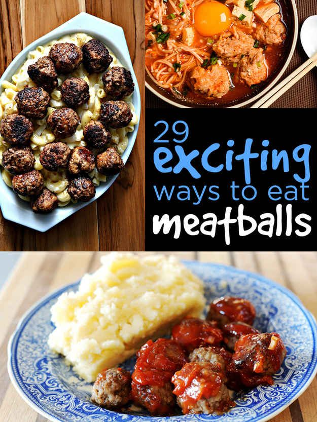 29) Combine 1 can cream of mushroom soup and 1 lg jar brown gravy with family size portion of meatballs. Serve over noodles. 30) Spaghetti sauce & homemade frozen meatballs into the crockpot hours before dinner.