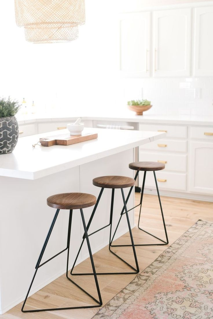 White with brass hardware band industrial modern stools