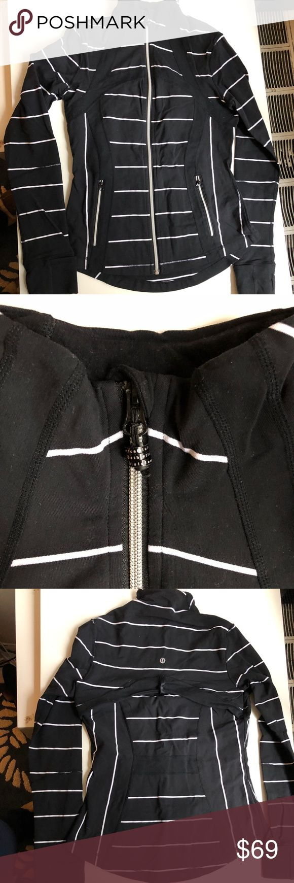 Lululemon RARE Black&White Stripe Define Jacket 8 Very rare pattern! Lululemon Define Jacket in a beautiful back with white stripes. Size 8. Later on this warm, lightweight jacket before you hit the hiking trails or head to the studio. Made with Luon fabric that is soft, sweat-wicking and 4-way stretch. lululemon athletica Tops Sweatshirts & Hoodies