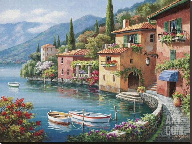Villagio Dal Lago Stretched Canvas Print by Sung Kim at Art.com