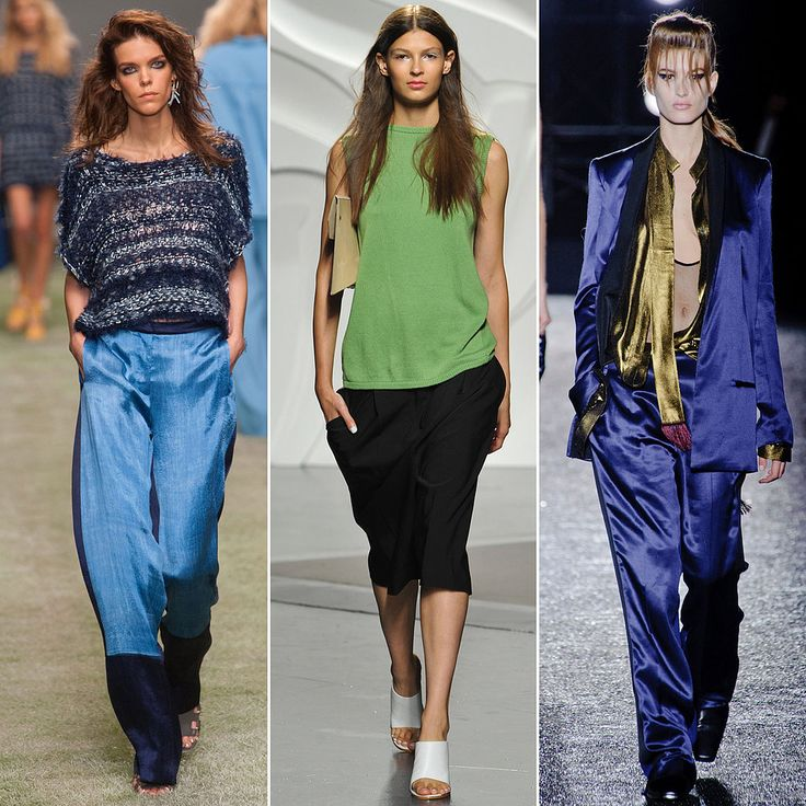 The opposite of body-con, formfitting trousers and shorts, the slouchy silhouette is relaxed and, most importantly, comfortable looking. The pajama-like pant is still here and long; knee-length shorts with a built-in casual vibe were spotted frequently, too.