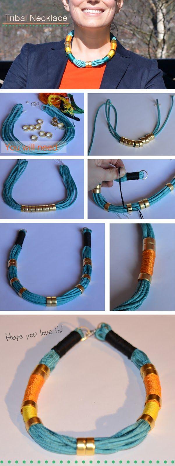 DIY tutorial collar de hilos