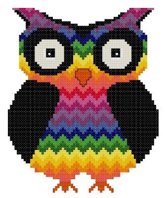 Bargello Zigzag Chakra Owl 2 Counted Cross Stitch by TheGiftMarket, $3.00