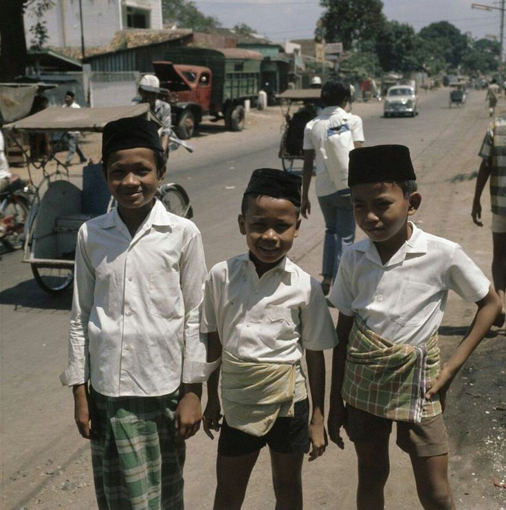 Three young students in Jakarta 1971