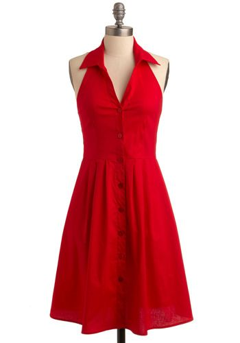 ModCloth's Club Red Dress $50Summer Dresses, Sundresses Red, Red Dresses, Buttons Sundresses, Red Halter, Red Sundresses, Retro Vintage Dresses, Betty Draper, Club Red