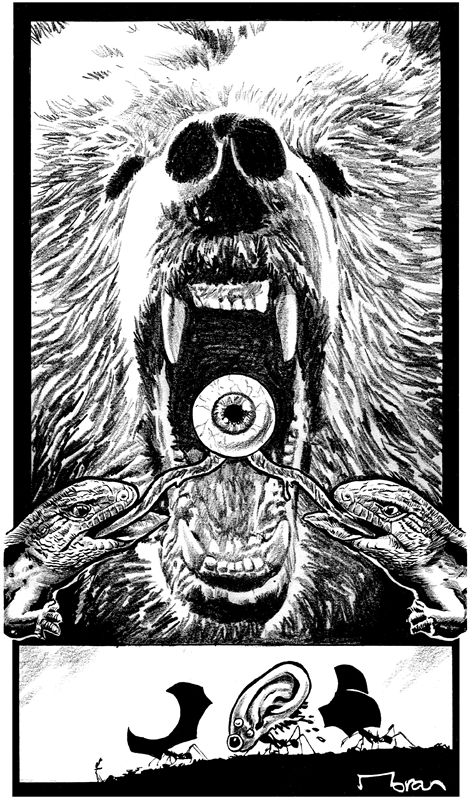 """Interior artwork for the Stuck On You novella. Artwork by Rob Moran.  """"Stuck on You is loaded with explicit sex, gore, and even a few laugh out loud moments as Ricardo ponders how to explain the naked corpse fused to his body to his wife. As long as you can handle balls out horror and violence, I recommend this awesome novella."""" – Sanity's Graveyard  http://getbook.at/AmazonStuckOnYou"""