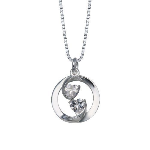 """Sterling Silver Cubic Zirconia """"Always Friends, Now and Forever"""" Circle Pendant Necklace, 18"""" Amazon Curated Collection. $29.00. Made in Thailand. Save 42%!"""