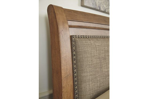 Close Up View Of Tamburg Upholstered Headboard Bed Frame Furniture Bed