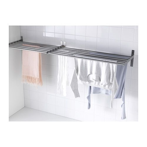 "$27 GRUNDTAL Drying rack, wall  - IKEA. Min. width: 26 3/8 "" Max. width: 47 1/4 "" Depth: 15 3/4 "" Height: 7 7/8 "" Max. load: 44 lb Draying capacity: 4-7 yards. Indoor use only. Different wall materials require different types of fasteners. Use fasteners suitable for walls in your home - duh!  Brack/tube stainless steel w/ end caps for scratch protection."