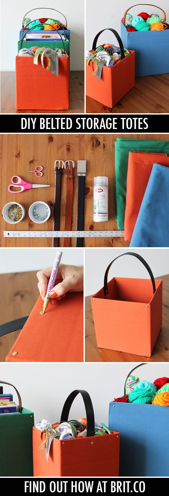 Get Organized with DIY Belted Storage Totes - I like this idea for beside the couch to hold the throw blankets and extra pillows :)