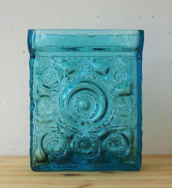 Stor retro vase i glass