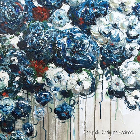 Forever in My Heart 36x36 Original Large Abstract Blue White Floral Painting. Contemporary, textured blue flowers, poppies, peonies, red roses home decor by brush & palette knife. STUNNING, coastal, fine art, with breathtaking detail in shades of navy blue, sapphire, light blue, teal, red, white, grey, taupe. Gallery fine art on canvas, wall art, home decor. Mixed media acrylic painting on 36x36x1.5 gallery wrapped canvas. Hand-painted, one-of-a-kind gallery fine art. Beautiful, vibrant, ...