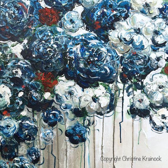 Forever in My Heart 36 x 36 originele grote abstracte blauw witte bloemen schilderij. Eigentijds, getextureerde papavers, pioenrozen, blauwe bloemen, rode rozen home decor door borstel & Paletmes. PRACHTIGE, kustgebieden, beeldende kunst, met adembenemend detail in de kleuren marineblauw, saffier, lichtblauw, teal, rood, wit, grijs, taupe. Galerie kunst op canvas, kunst aan de muur, home decor. Acryl schilderij van de mixed media op 36x36x1.5 galerij doek gewikkeld. Handgeschilderde, one-...
