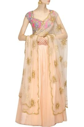 Light Lehengas - Pink and Peach lehenga | WedMeGood  Pink and blue blouse with peach plan lehenga, peach and gold net dupatta with gold motif embroidery. Find more lehenga designs on wedmegood.com #wedmegood #lehenga #peach #motif #gold #pink