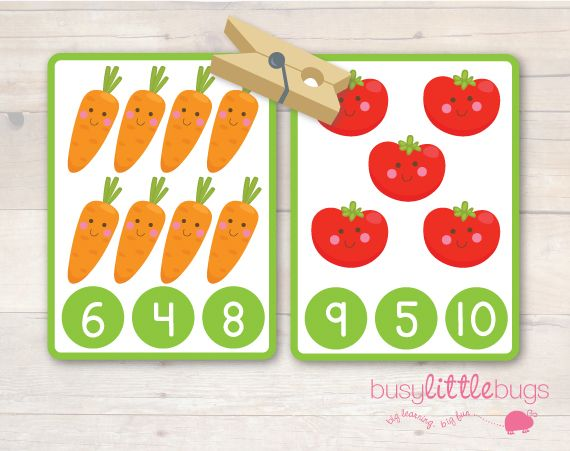 Adorable, FREE Vegetable Number Clip and Count Cards.