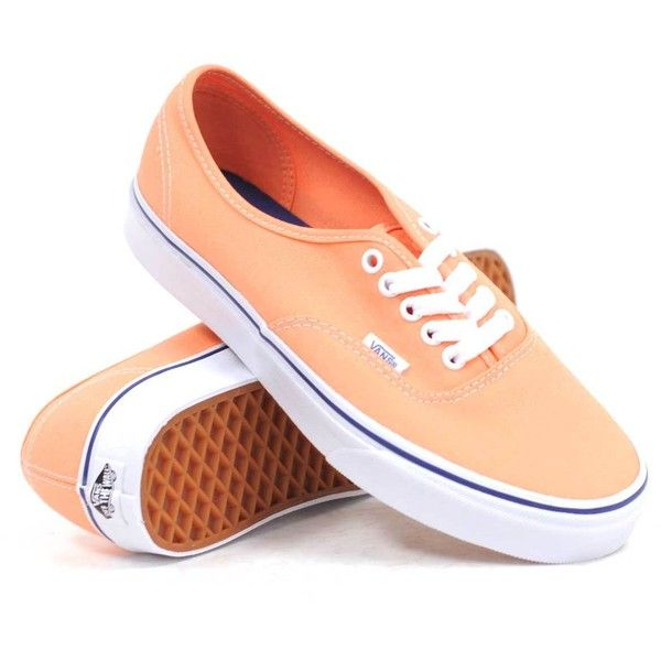 Vans Authentic (Canteloupe/True White) Women's Shoes ($45) ❤ liked on Polyvore featuring shoes, sneakers, vans, flats, orange, lace up flats, flat shoes, lace up shoes, white trainers and orange flats
