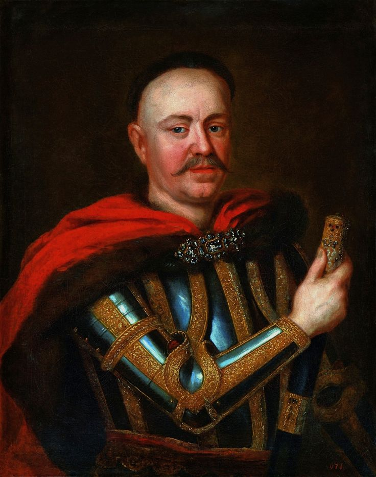 Portrait of Stanisław Herakliusz Lubomirski, Grand Marshal of the Crown, holding the insignium of his power in the parliament - the Marshal's cane by Anonymous, third quarter of the 17th century (PD-art/old), Muzeum Łazienki Królewskie (MLK), from the collection of Stanislaus Augustus