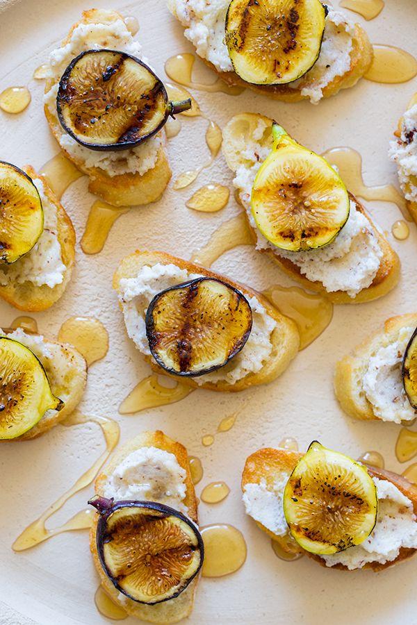 Grilled Fig, Hazelnut and Ricotta Crostinis