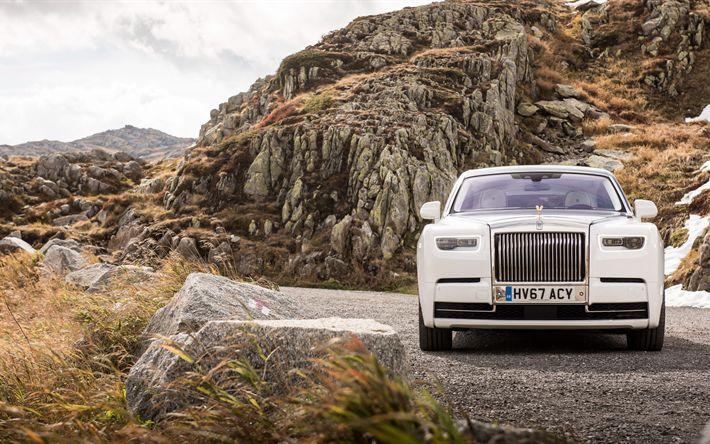 Download wallpapers Rolls-Royce Phantom, 2017, 4k, front view, luxury cars, British cars, white gold, Phantom VII, Rolls-Royce
