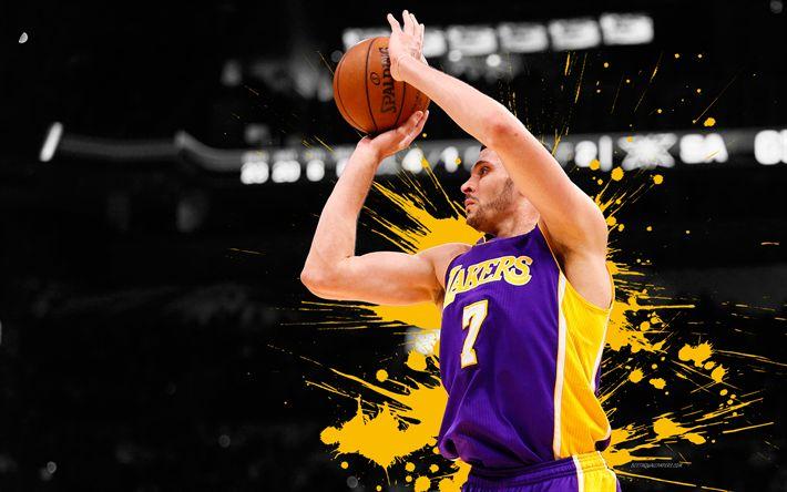 Download wallpapers Larry Nance Jr, 4k, basketball players, NBA, Los Angeles Lakers, grunge, basketball, art, LA Lakers