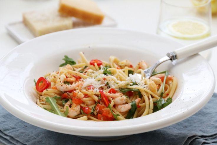 Spagetti med chilireker, paprika og sitron