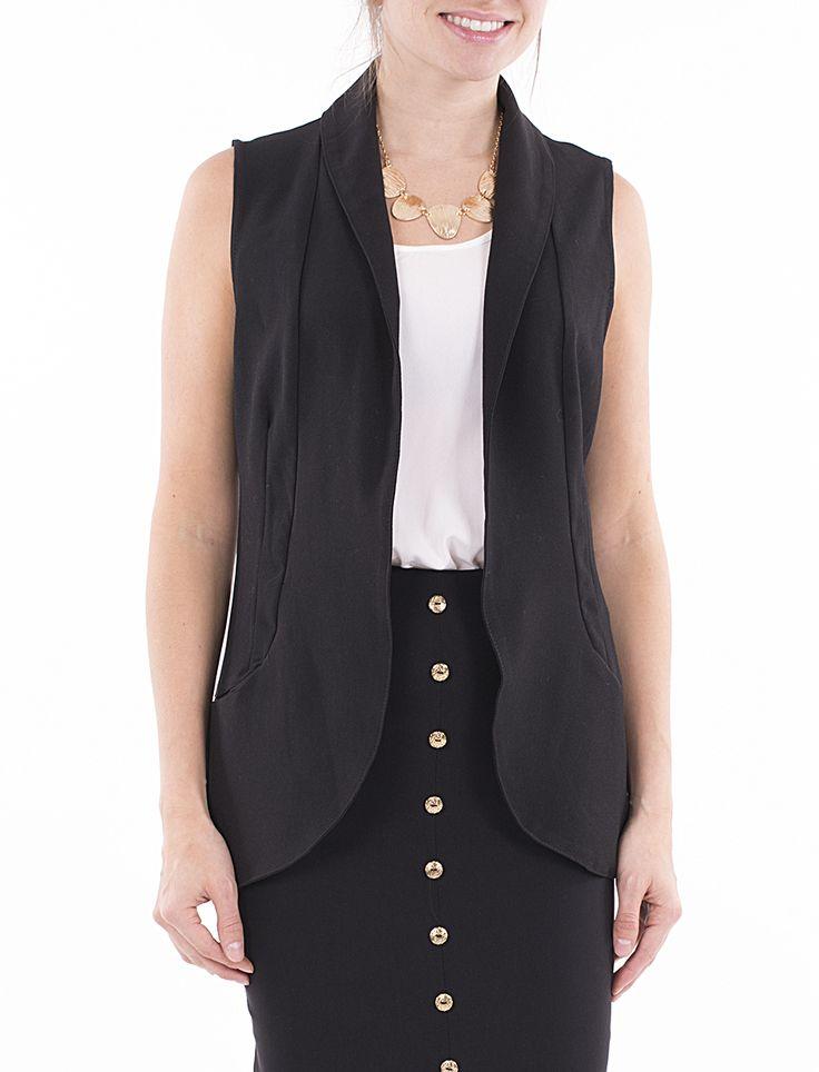 Veste tissée sans manches avec poches dissimulées - Mode Choc | Le grand magasin de la mode