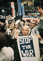 Democratic delegates protest the Johnson administration's policies in Vietnam at the 1968 Democratic National Convention in Chicago. Description from npr.org. I searched for this on bing.com/images