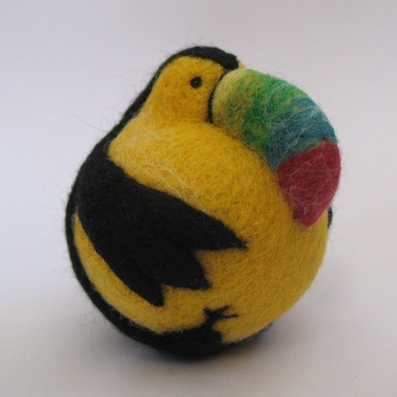 toucan felted ball