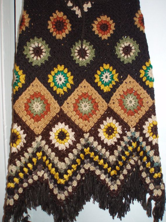 Crochet 1960-s hippie style bohemian woodland forest brown granny square puff stitch flowers skirt with fringe via Etsy