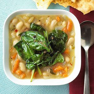Tuscan Bean Soup  - veganize with veggie broth or a vegan chickeny broth seasoned with nutritional yeast