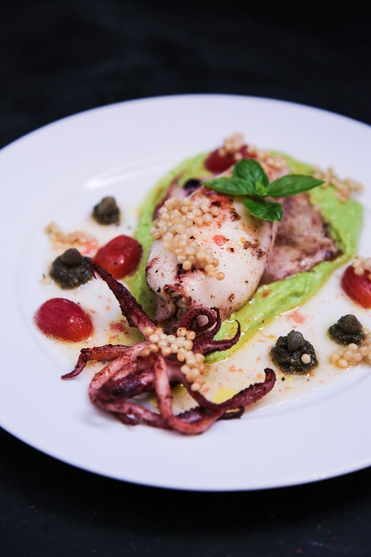 Mediterranean Feta Stuffed Squid with Pea Fennel Puree and Black Olive Pesto | Berries and Spice