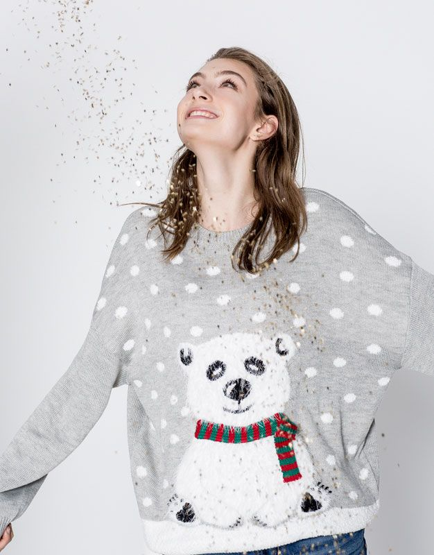 Sweter z bożonarodzeniowym misiem - ��Prezenty świąteczne - Dla Niej - PULL&BEAR Polska