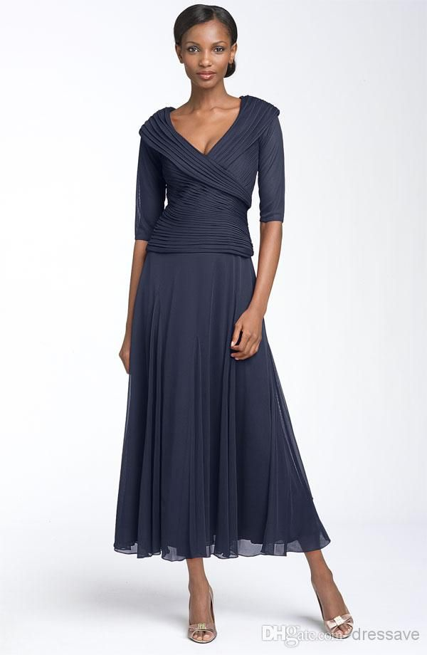 Wholesale Mother of the Bride Dresses - Buy 2015 New Mother Of The Bride Dress V Neck Half Sleeve Chiffon Tea Length Formal Evening Dress BO5694, $91.41 | DHgate